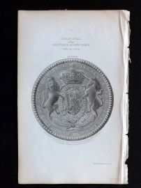 Morgan 1851 Antique Print. Great Seal of the Province of New York 1691-1705.